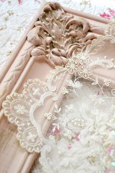 Shabby Chic Pink Frame with Vintage Lace