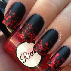 Black matte and red glitter nailart #nailart @Jenniferw
