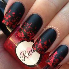 Black matte and red glitter nailart #nailart @Jenniferw