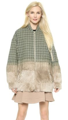 No. 21 Checkered Coat with Shearling Trim