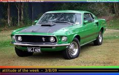 """Special-Order Poppy Green 1969 """"Rainbow of Colors"""" Mach 1 Mustang with the R-code Cobra Jet and the Drag Pack (making it a SCJ)"""