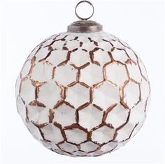 Glass Honeycomb Bauble Copper/ Rustic White 13cm - Christmas
