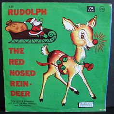 Vintage 1960's Children's Christmas Record - RUDOLPH The Red-Nosed Reindeer - Peter Pan Records - 78 RPM