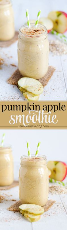 Pumpkin Apple Smoothie - JenniferMeyering.com. Vs. Diabetic Living.com recipe - add 1 Tblsp maple syrup, 1/8 tsp pumpkin pie spice, 1/16 tsp salt, 1/2 cup high-protein honey-almond-flavor granola (Bear Naked brand)
