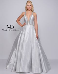 Metallic Lamé halter gown featuring symmetrical rhinestone motif giving way to full skirt with box pleats at the waist. Prom Girl Dresses, Ball Gown Dresses, Club Dresses, Nice Dresses, Wedding Dresses, Prom Boutiques, Halter Gown, Online Dress Shopping, Shopping Sites