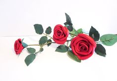 Red Leather roses -Long Stem 3 red roses- leather flower- Wedding- 3rd Anniversary Gift -Sexy Flower Valentines Day by NYLeatherRose on Etsy