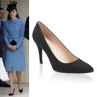 The 'Power' pumps made their début in June 2014 when Catherine visited France to commemorate the 70th anniversary of the Normandy landings on Gold Beach.  These Stuart Weitzman pointed-toe court shoes feature a covered 3 ¾ inches thin stiletto heel and leather sole.