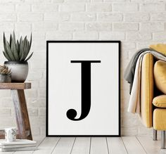 "Letter ""J"" Printable Art Poster, Alphabet J Wall Art, J Initial Wall Art, Nursery Letter, Printable Wall Art Decor *INSTANT DOWNLOAD* Initial Wall Art, Letter Wall Art, Letter J, Free Printable Alphabet Letters, Printable Wall Art, Printing Websites, Online Printing, Nursery Letters, Wall Art Decor"