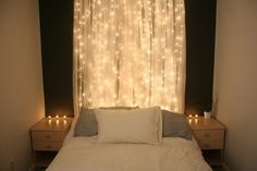 In case I place my bed on an angle - Unique alternative to a normal headboard! Use shimmering tule and twinkling Christmas lights! Get the tule by yards so you can cut it. And just set it up with command hooks and tie the tule on them! (Or glue the knot to secure holding) and it also gives way to hold the shimmering lights!