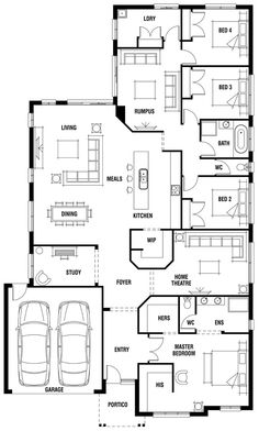 House Design: Dunedin - Porter Davis Homes Remove Rumpus and shift laundry into . - House Design: Dunedin – Porter Davis Homes Remove Rumpus and shift laundry into that space, and r - 4 Bedroom House Plans, Dream House Plans, Modern House Plans, Modern House Design, House Floor Plans, Split Level House Plans, Kids Bedroom, Building Plans, Building A House