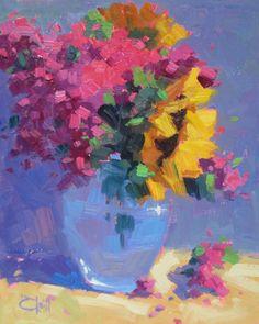 Sunflowers and Phlox, Sally O'Neill - oil, 10 x 8.