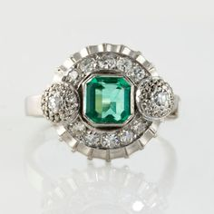 Diamond and Emerald Ring | Westchester Gold and Diamond