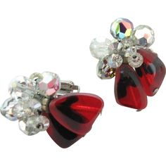 #1214 Vendome Red Poured Glass Cluster Earrings  Exclusively at Lee Caplan Vintage Collection  on RubyLane