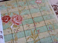Blue Cream Shabby Distressed Roses Tile Coasters Housewarming Christmas Gift
