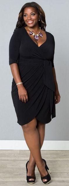 Harlow Faux Wrap Dress in Black