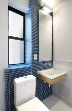 Uniform Design Bathroom, Blue Tiles | Remodelista