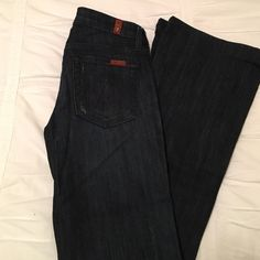"Seven Jeans wide leg denim jeans These jeans are on trend right now with wide leg ankle. They are size 25 in dark wash denim. They have been hemmed with the original hem but can be worn with heels. ""A"" pocket style. No trades 7 for all Mankind Jeans Flare & Wide Leg"