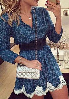 Blue Long Sleeve Print Lace Dress 2015-2016