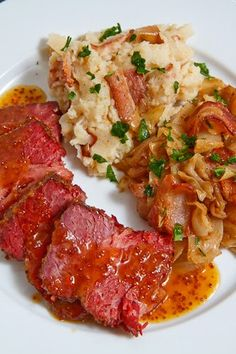 Apricot Glazed Corned Beef with Sauteed Cabbage and Colcannon: 3 cups water  2 tablespoons sugar  2 tablespoons cider vinegar  2 cloves garlic, peeled and smashed  1 (3 pound) corned beef brisket with pickling spices  1/2 cup apricot preserves  2 tablespoons brown sugar  2 tablespoons dijon mustard  2 tablespoons grainy mustard  low for 8 hours