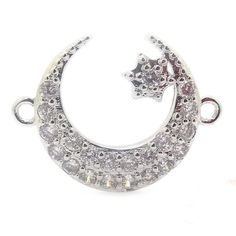 WT-C122 New!!! Micro Pave Crescent Connectors With Star Charm,Sparkly Plear CZ…