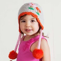 The cutest mushroom hat ever! Soft grey earflap style is adorned with lacy red/orange trim and accented with mushrooms in pink and red/orange. Add our Forest Friends Legwarmers with a little fairy to complete the look.