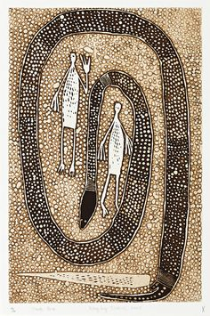 Aboriginal artist Philip Gudthaykudthay ~ Wititj (The Olive Python) and Wagilag Sisters, 2005 Aboriginal Painting, Aboriginal Artists, Indigenous Australian Art, Indigenous Art, Claude Monet, Vincent Van Gogh, Sand Painting, Art Story, Native Art