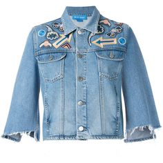 Mih Jeans Arch Denim Jacket Customised By Nicole Huisman (€410) ❤ liked on Polyvore featuring outerwear, jackets, distressed denim jacket, blue denim jacket, distressed jacket, denim jacket and patch jacket