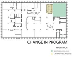 Hunt Library Addition: Diagram of Change in Program (first floor) #kerrianfrance #48105-S15
