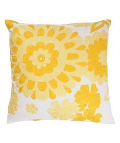 Place this sunny yellow pillow on your bed or sofa for an instant refresher. With its bright color and interesting texture, it's anything but an ordinary throw pillow.