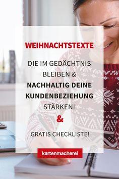 Die Weihnachtstexte bleiben deinen Kunden im Gedächtnis! Vermeide diese Fehler in deinen Weihnachtstexten auf deiner geschäftlichen Weihnachtskarte, damit die Karte ein voller Erfolg wird! Mit diesen Tricks wird deine geschäftliche Karte zu Weihnachten ein Erfolg und bindet deine Kunde nachhaltig an dich! Gestalte mit Hilfe unserer Textbausteine eine professionelle Business Weihnachtskarte für deine Kunden - egal ob du Entrepreneur oder Mittelständler bist! Tricks, Water Bottle, Christmas Is Coming, Custom Holiday Cards, Company Christmas Party Ideas, Water Bottles