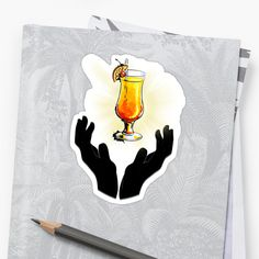 'Holy Cocktail / Praying For Drink' Sticker by RIVEofficial Glossier Stickers, Holi, Pray, Custom Design, Digital Art, Cocktails, Alcohol, Trends, Artist