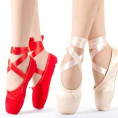 Child and Adult Ballet Pointe Dance Shoes Ladies Professional Ballet Dance Shoes with Ribbons Shoes Woman Red Ballet Shoes, Pointe Shoes, Ballerina Shoes, Dance Shoes, Ballet Dance, Ribbon Shoes, Silk Ribbon, Shoes Uk, Toe Shoes