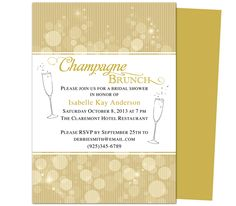 Champagne Brunch Template for Bachelorette Party Invitations : Champagne Bachelorette Party Invitation Template. Download, edit, print.
