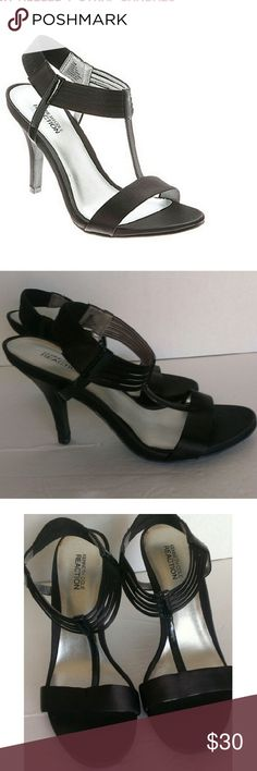 Kenneth Cole Black Satin t-Strap Sandals Sz 8 1/2 These are Kenneth Cole Reaction Know Way black satin t-strap high heel sandals. My friend only wore them twice but tripped and scraped up one of the heels. (See last photo)  My home is smoke free and pet free.  Check out the other items in my closet and bundle for your discount.  I consider all offers.  Happy POSHING! Kenneth Cole Reaction Shoes