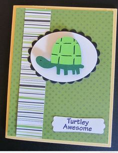 This Cricut turtle card uses the Walk In My Garden Cricut Cartridge and a stamp from My Pink Stamper