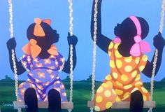 me and my Sister by cassandra gillens Black Girl Art, Black Women Art, My Black Is Beautiful, Beautiful Artwork, Black Art Painting, Black Art Pictures, Africa Art, African American History, Adult Coloring Pages