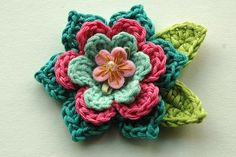 download a FREE pattern every day. ~ Multi-Layered Flower |  Crochet Stash .Tumblr .Com