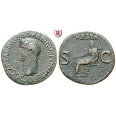 Römische Kaiserzeit, Caligula, As 37-38, ss: Caligula 37-41. Kupfer-As 37-38 Rom. Kopf l. C CAESAR AVG GERMANICVS PON M TR POT /… #coins