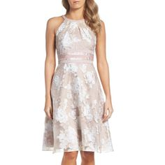 Petite Women's Adrianna Papell Print Organza Fit & Flare Dress (350 AED) ❤ liked on Polyvore featuring dresses, petite, pattern dress, organza dress, pink dress, pink fit and flare dress and pink fit-and-flare dresses