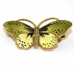 OPRO Sterling Silver Multi Color Enamel Butterfly Pin Brooch