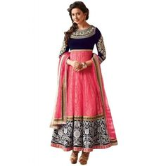 Cynosure Pink Net Semi Stitch Anarkali Dress with Matching Color Raw Silk Bottom, Pink Color Nazneen Dupatta, Raw Silk and Raw Silk Inner. It Contain the work of Zari, Resham Embroidery with Lace Patti. This Suit can be customized up to bust size 44