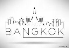 Vector: Bangkok City Line Silhouette Typographic Design