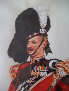 Vintage 50's Traditional Scottish Costumes Wear Bag Pipes Marching Portraits-Water Color set hand done dated 1952 and 1953
