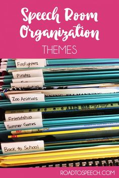 Materials overload?! Check out this blog post for ideas on how to organize your themed materials for speech therapy.