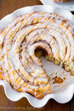 Giant Cinnamon Roll Cake - soft, fluffy, and extra large! Get the recipe at sallysbakingaddiction.com @Sally [Sally's Baking Addiction] Baking Addiction, Recipe, Extra Large, Cinnamon Rolls Cake, Food, Sally'S Baking, Cinnamon Roll Cakes, Large Cinnamon Rolls, Giants Cinnamon