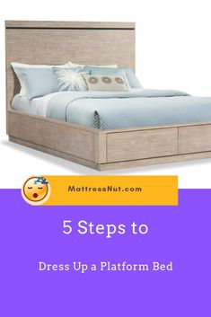 5 Steps to Dress Up a Platform Bed | Fitted sheets are mostly available in white color and we suggest using plain white fitted sheets or any plain sheet that matches the color of the display sheet. This is important so that even if the fabric of the display sheet is light and see-through, the design or color of the fitted sheet at the bottom won't be easy to see. #decor #homedecor #bedroom #furniture #platformbed #mattressnut Raised Platform Bed, Platform Bed With Storage, Platform Bedroom, Diy Platform Bed, Fitted Sheets, Bed Sheets, Bed Storage, Bedroom Storage, Bed Designs With Storage