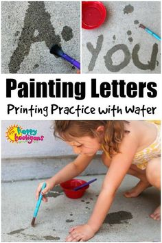 Painting letters with water is a great pre-writing activity for preschoolers and a fun way for older kids to brush up on spelling, printing and. Writing Activities For Preschoolers, Water Play Activities, Preschool Writing, Spelling Activities, Letter Activities, Literacy Activities, Toddler Activities, Family Activities, Outdoor Preschool Activities