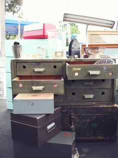 vintage drawers Vintage Drawers, Old Drawers, Cubbies, Shelves, Consoles, Lust, Cabinets, Bookcase, Tables