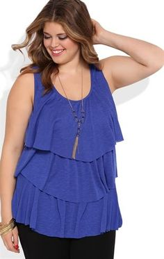 Deb Shops Plus Size Ruffle Tank Top with Gold Beaded Necklace