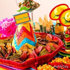 Fun salsa bar idea: Serve tortilla chips in a sombrero piñata! Description from pinterest.com. I searched for this on bing.com/images